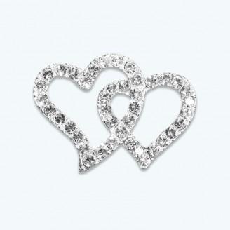 Double Heart Rhinestone Buckle-Pack of 12